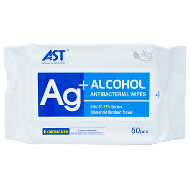 AST 75% Alcohol Antibacterial Wipes - 50 pack