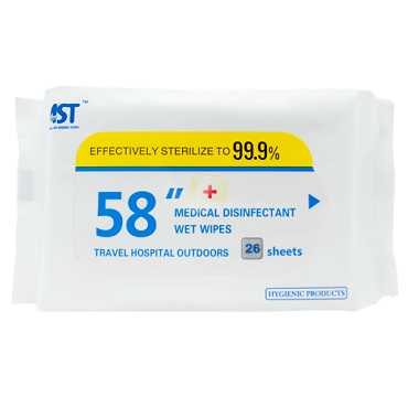 AST 58 Inch Alcohol-free Medical Disinfectant Wet Wipes 26 Count